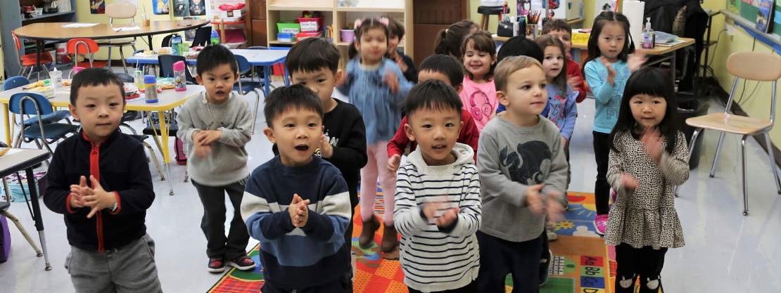 students singing in classroom