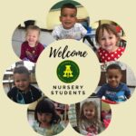 Nursery students organized in a circle, with text Welcome Nursery Students