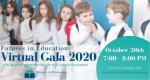 advertisement for futures in education virtual gala showing young students
