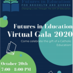 advertisement of futures in education virtual gala on oct. 20th