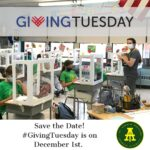 A Teacher and students are in class, an ad for GivingTuesday