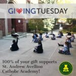 GivingTuesday ad with teacher and students learning in courtyard.
