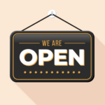 """We are open"" text image"