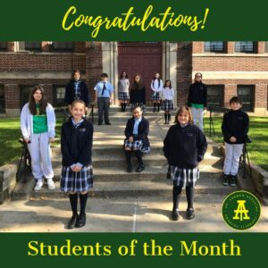 Students of the month from 5th to 8th Grades