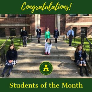 Students of the month from Kindergarten to 4th Grades