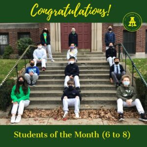November students of the month grade 6 to 8