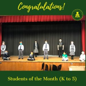 November students of the month grade K to 5