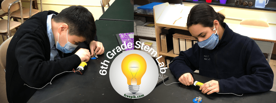 students in stem lab during a light bulb experiment