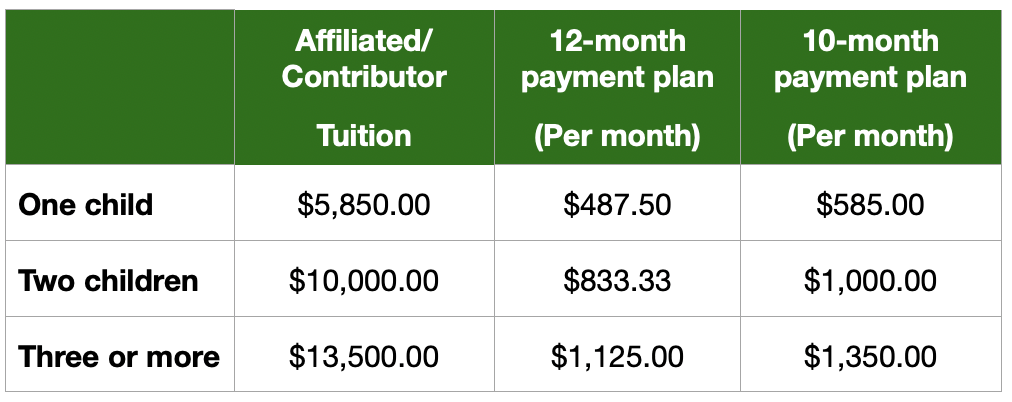Affiliated/Contributor tuition rates 2021-2022